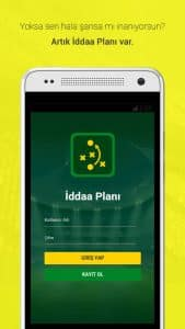 İddaa Planı - Mobile Application Login Page Screenshot