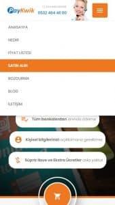PayKwik Index Mobile Menu Page Screenshot